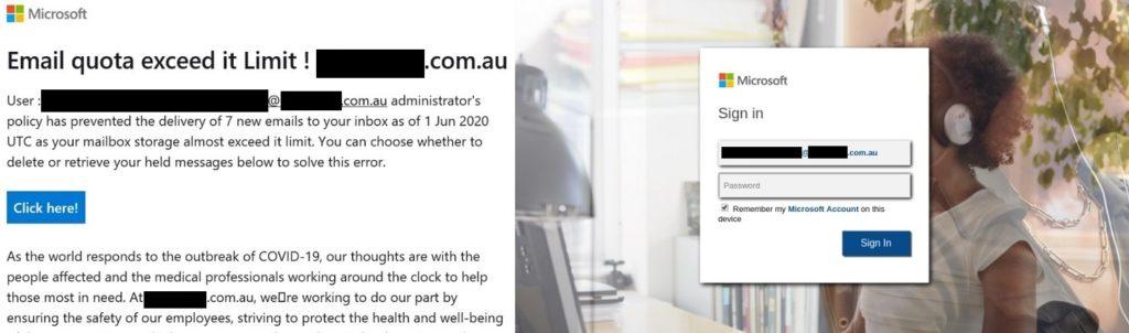 útok na microsfot 365 - plný email