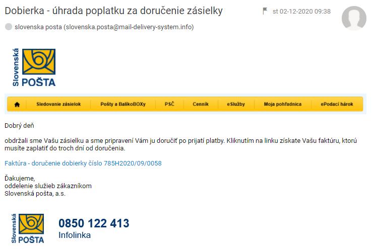 slovenska posta phishing