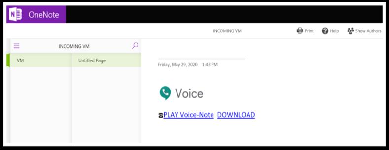 OneNote Voice príklad